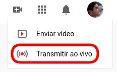 Ícone do YouTube para criação de transmissão ao vivo