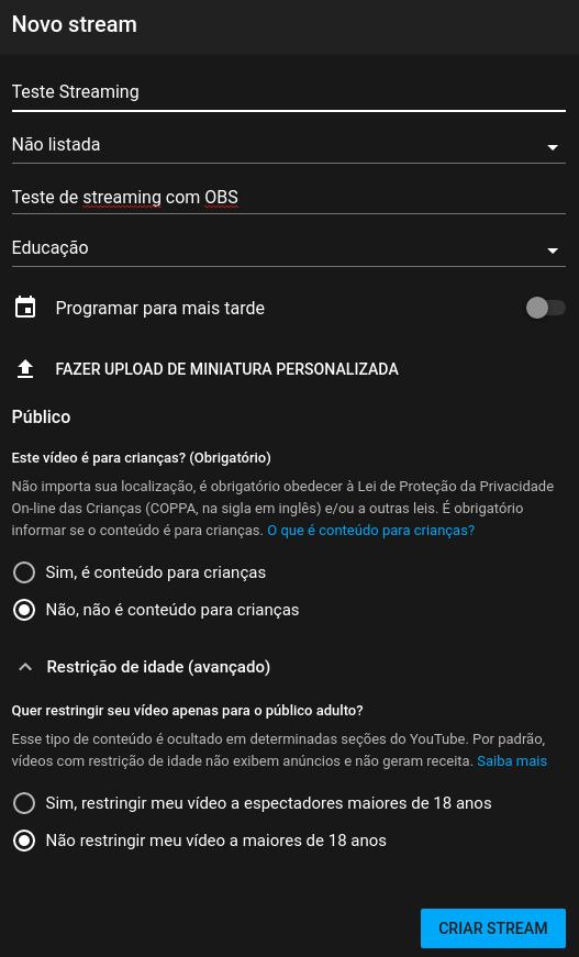 Opções do YouTube para criação de transmissão ao vivo