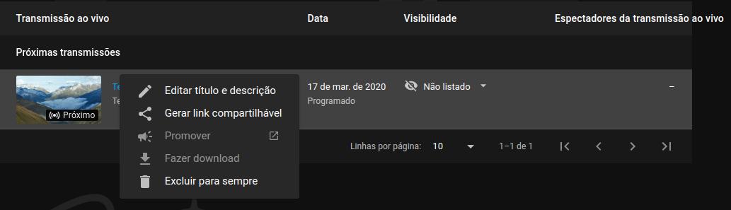 Tela de espera para transmissão ao vivo do YouTube