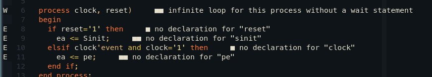 Editor com um código VHDL errado mostrando os erros